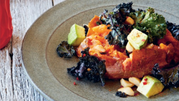 Super salad ... Spicy sweet potatoes with kale and brazil nuts.