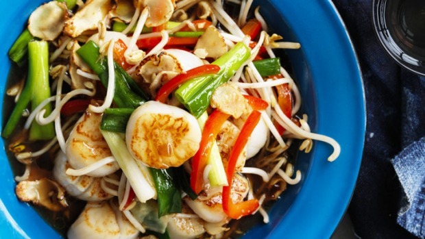 Neil Perry's stir-fried scallops with bean sprouts.