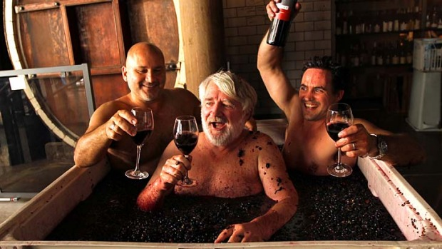 Nectar of the odds: Alex Retief, right, master of wine Rob Geddes, centre, and director of Nomad, Al Yazbeck, do some ...
