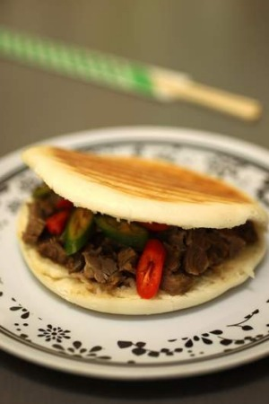 """The bargain under $5 """"Chinese burger""""  from Oriental Dumpling King at Haymarket."""
