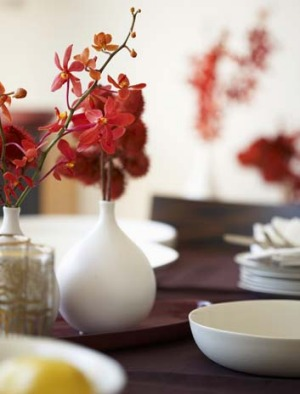 A little decor: Decorating the table can add to a dinner party theme or the overall ambience of the room.