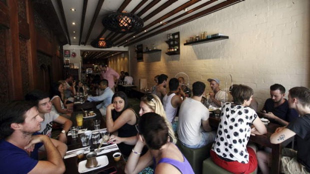 Local favourite: The long narrow space is full for Sunday brunch.