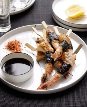 Umami-rich barbecue nori prawns.