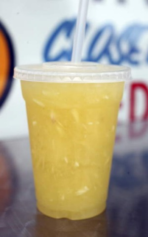 Paul's signature pulpy pineapple drink: a Sylvania institution.