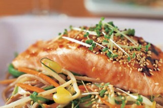 Salmon with miso and soy noodles