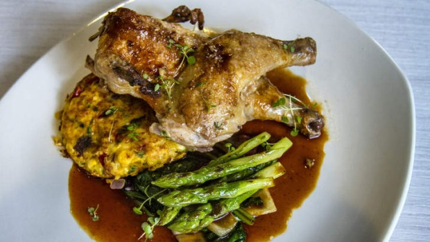 Spatchcock with corn fritter, asparagus and braised radicchio.