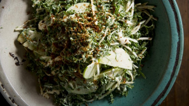 Great with pork: Celeriac, apple and kale slaw with sour cream, dehydrated anchovy and roast garlic dressing.