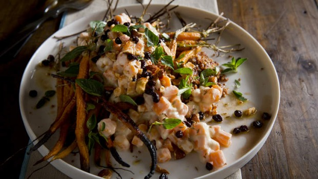 Carrot and red quinoa salad with oregano, smoked almonds, currants and ...