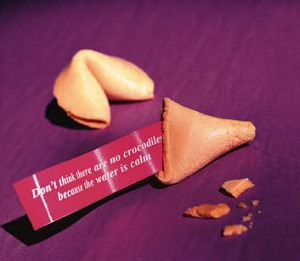 One from the archive ... The fortune cookie in this photo from 1998 works on many levels.