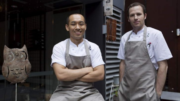 Korean modern: Chef Tae Kyu Lee and David Ralph at Kim Restaurant.