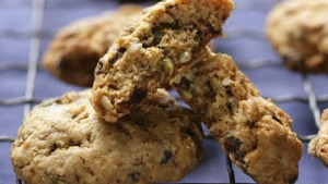 Chocolate and pumpkin seed biscuits.