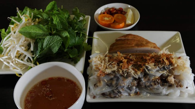 The banh cuon nhan (pork and prawn-filled steamed rice paper rolls).