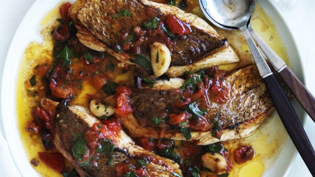 For garlic lovers: Saute of snapper with fresh tomato and olive sauce.