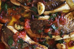 Saute of snapper with fresh tomato and olive sauce.