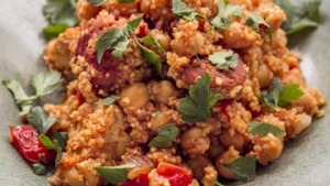 Chicken and chorizo with chickpeas and cous cous.