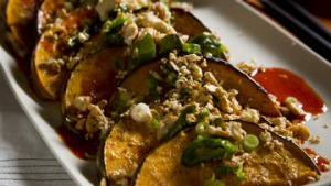 Roasted pumpkin and cashew with gochujang, sesame and rice wine vinegar.