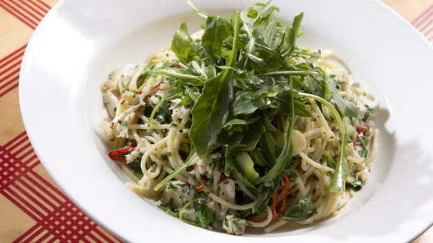 Pasta dishes such as sand crab spaghettini (pictured) feature on the bistro menu.