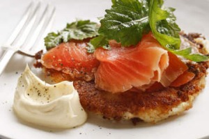 Mashed potato cakes with smoked trout.