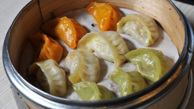 A colourful trio of special dumplings.