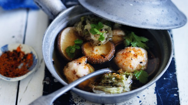 Umami goodness: Neil Perry's king prawn ball and shiitake mushroom hotpot.