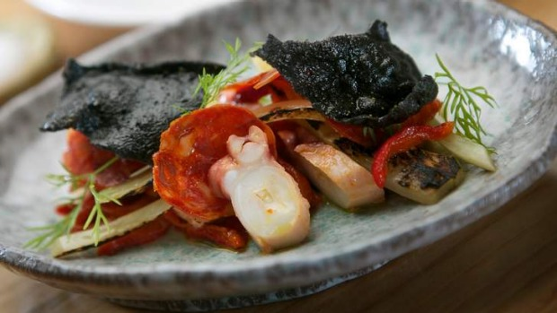 Go-to dish: Grilled octopus with chorizo, capsicum and fennel.