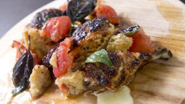 Barbecued buttermilk brined chicken with aioli and panzanella.