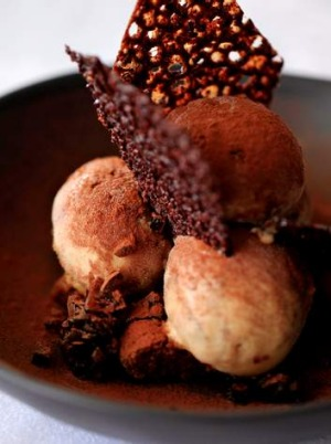Tiramisu gelato with chocolate and coconut tuiles, sponge fingers and  marsala jelly.