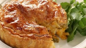 Chicken, pumpkin and sage pie.