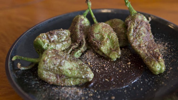 Pimento de padron with miso and sichuan butter.
