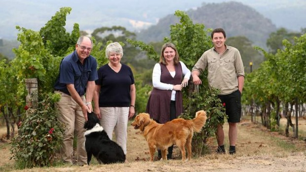 Still going strong: John, Ann, Ruth and Rob Ellis, with dogs Min and Xena, at Hanging Rock.