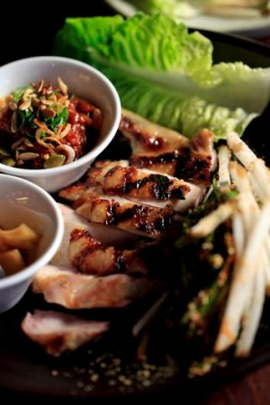Ssam: barbecued chicken thigh with tangy pickles and spicy ssamjang paste.