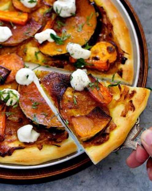 <b>Leftover roast vegies:</b> Adam Liaw's delicious, gourmet and vegetarian pizza with ricotta. <a ...