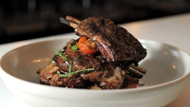 Middle Eastern twist... Grilled lamb ribs, spiced eggplant and lemon dressing.