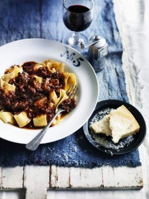 Oxtail ragu with pappardelle pasta.