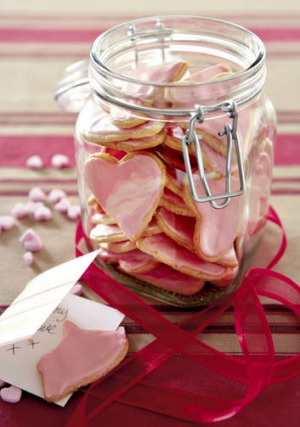 Heart-shaped iced biscuits.