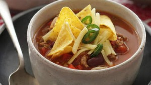 Chilli bean soup with corn chips.