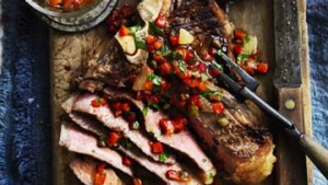 T-Bone steak with lemon salsa.