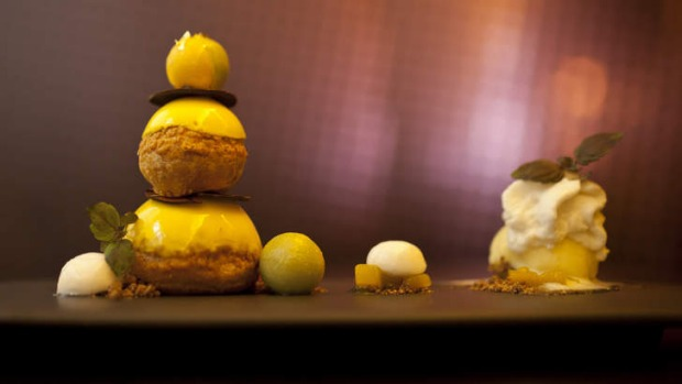 Mango alfonso includes profiteroles, coconut and lemongrass foam and painted chocolate.