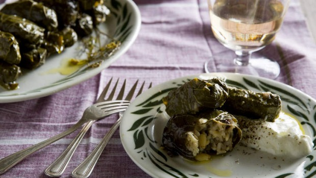 Stuffed vine leaves with rice, pine nuts, currants and lemon.