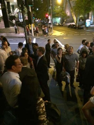Diners are evacuated onto the street from Rockpool Bar & Grill last night.