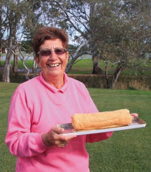 Jean Biggins with her jam sponge roll.