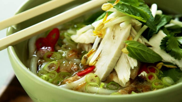 Fragrant chicken and rice noodle soup.