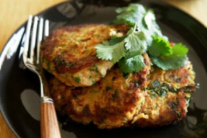 Chickpea and tuna fritters.