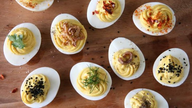 Devilled eggs are making a comeback: Spruce them up with your choice of toppings such as crisp-fried shallots, anchovy ...