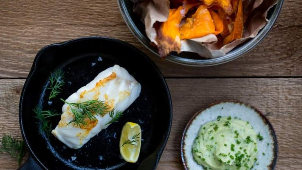 Adam Liaw's pan-roasted ling with sweet potato chips and avocado yoghurt.