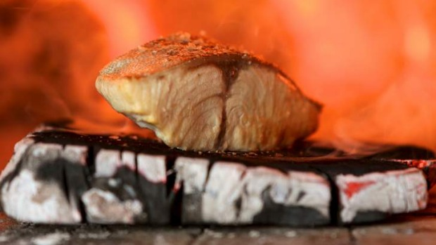 Stupendously naked: Wood-roasted bonito.
