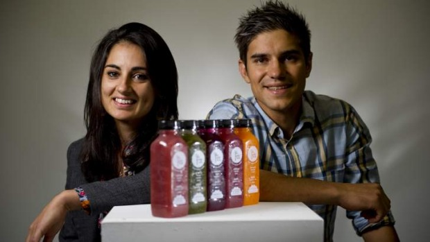 On the go: Lucianne Attard and Jovan Pejic, owners of The Fix: Cold Pressed Juices, where the juices are handcrafted.