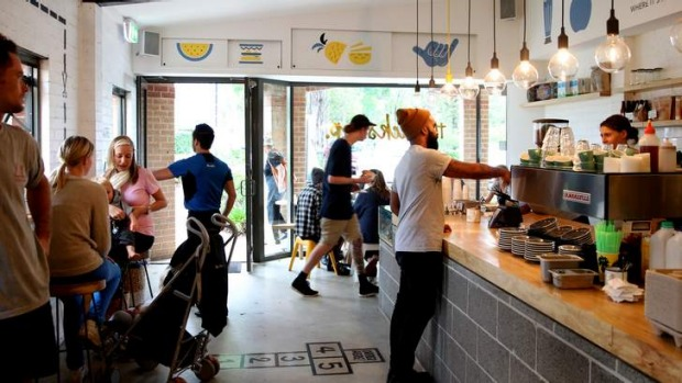 Busy: Part tourist destination, part cafe, and its cheesy burger is a must.