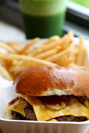 """The cheesy"" burger with skinny chips is hugely popular."