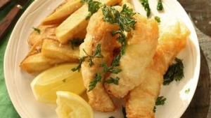 Beer battered flathead and hand cut chips.